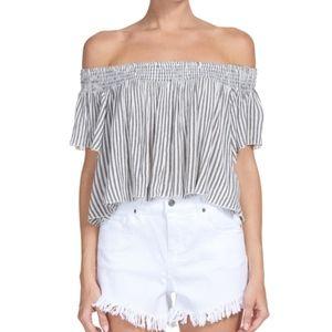 Elan Striped Crop Top Size M